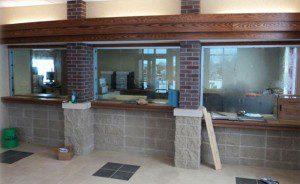 New bank interior pass through windows