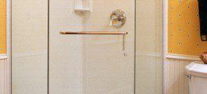 Neo Glass shower door with railing
