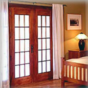 Bedroom with french door entryway