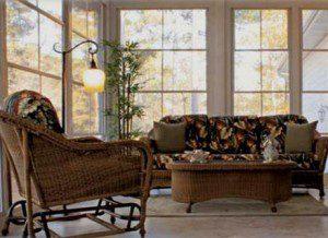 wicker furniture inside pretty sunrrom