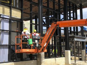 Kawneer curtain wall system installation going smoothly