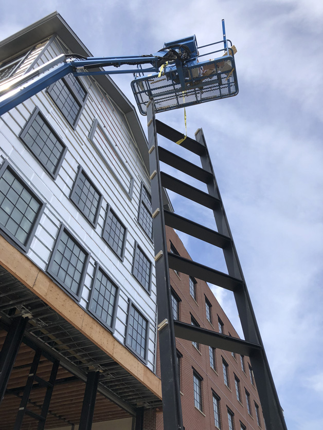 High ladder work at Duluth Trading construction