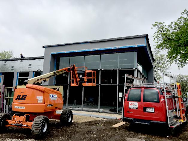 Kawneer fabricated storefront frame glass