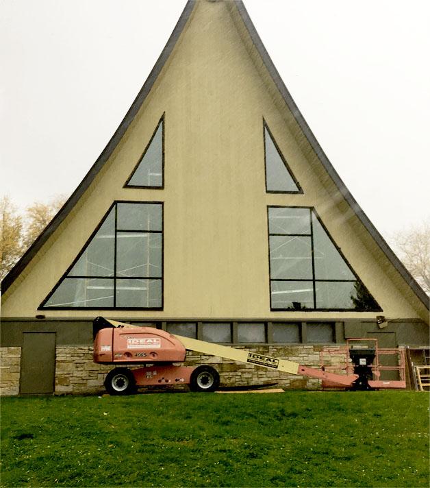 New arched church windows