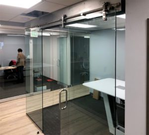 office with glass door slider