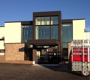 Kawneer storefront with bronze finish installed in Verona, WI - Madison area