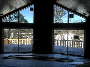 What a dramatic effect these huge windows have on this outlook on a winter's day