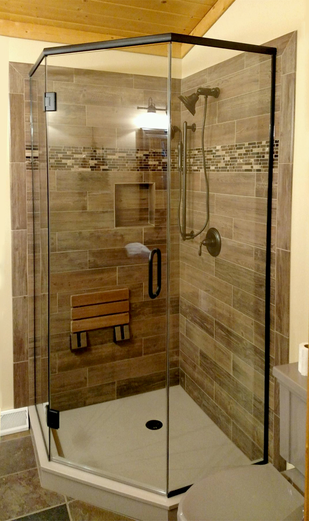 Neo-angle shower oil-rubbed bronze finish from Area Glass, Tomahawk