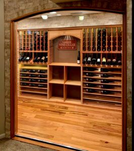 custom arched cabinet window fits into wine rack