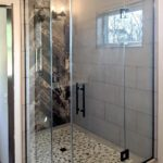 Shower with black hardware