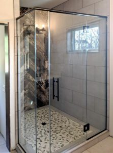 Shower with black hardware