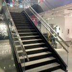 Interior store custom glass railing system