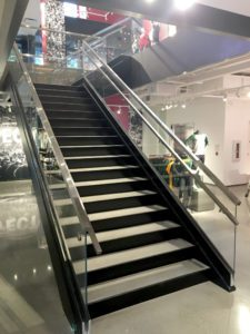 Under Armour store Madison - we installed this architectural stair rail system