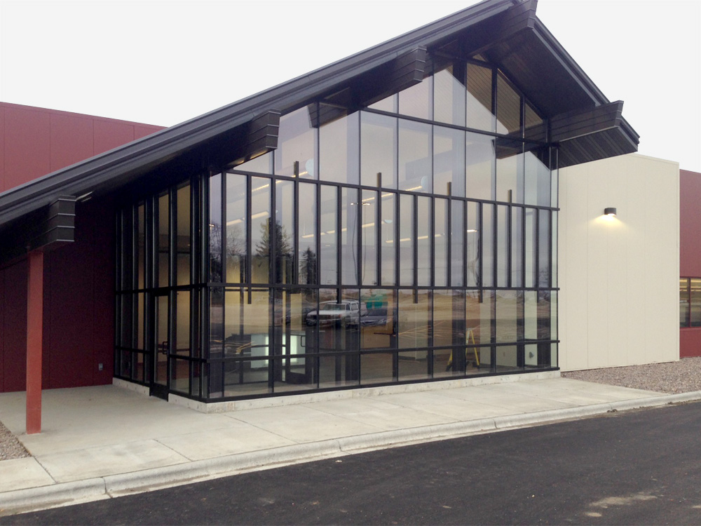 New Construction Curtain Wall Area Glass Wisconsin