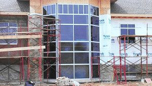 Construction of a new bank - we installed the glass.