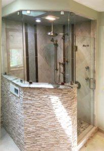 Custom glass - Swinging shower door for half-wall shower