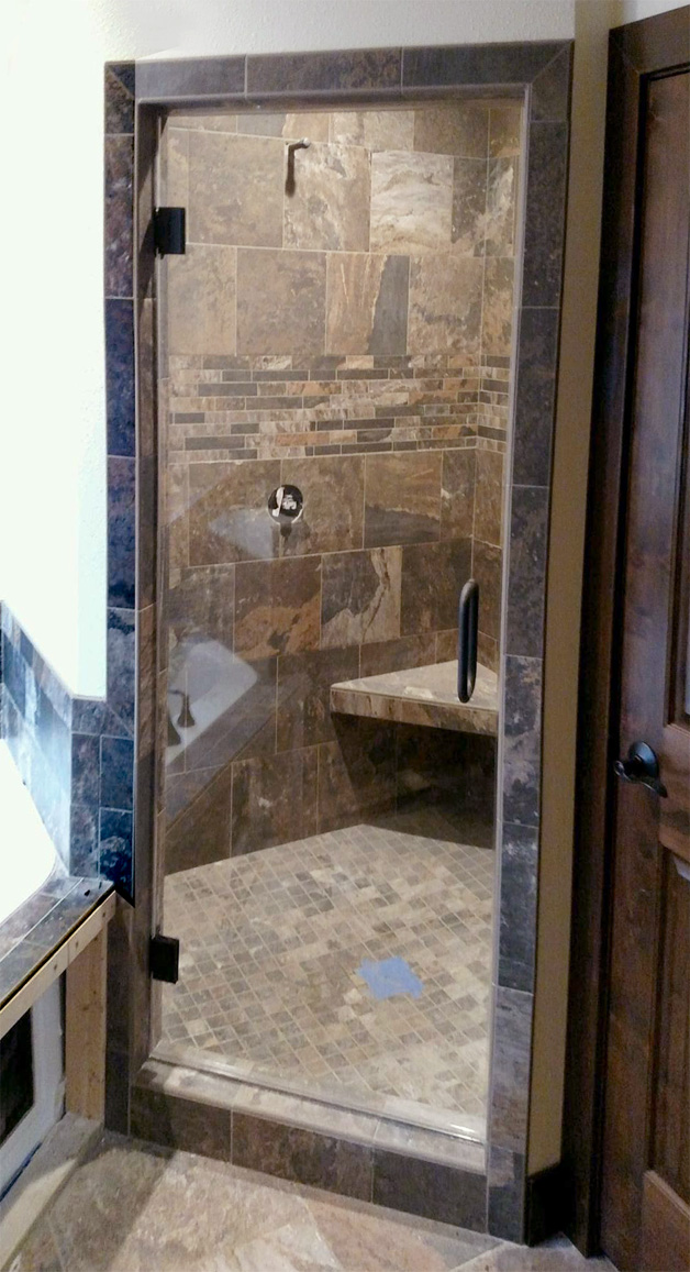 Custom shower door by Area Glass