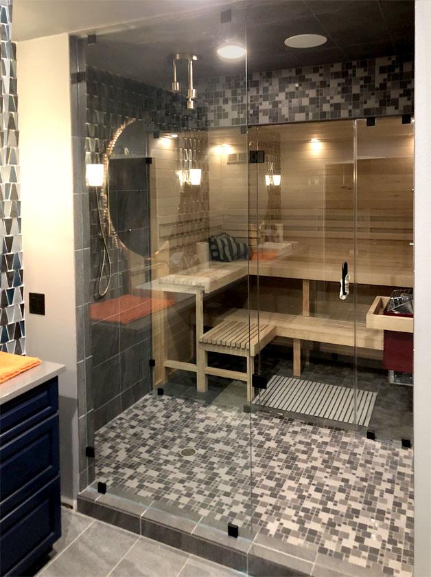 Custom sauna and shower