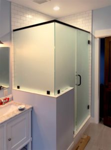 Frosted heavy glass shower enclosure with pony wall
