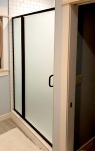 Swing shower door with frosted glass