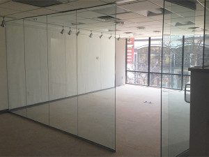 Office reconstruction in Madison. We installed this glass wall to make a conference room