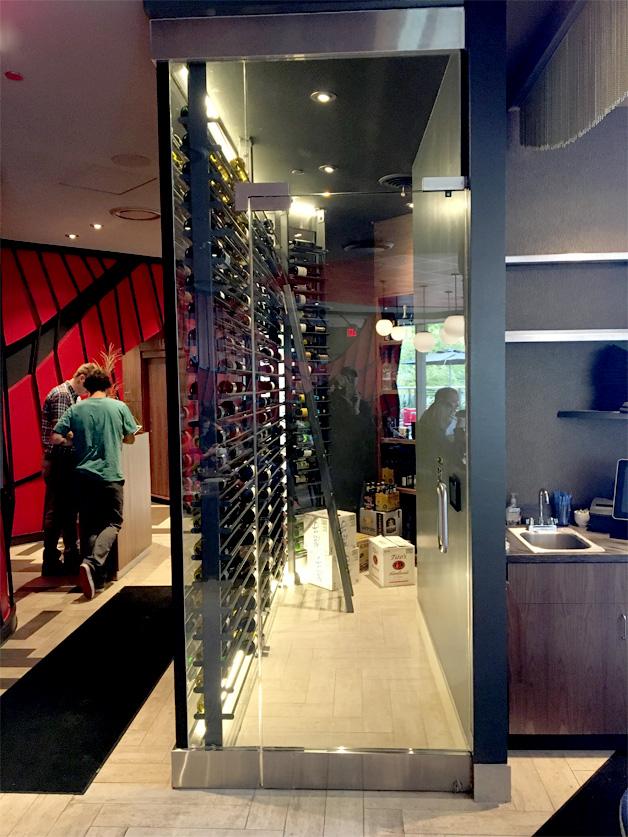 Interior custom glass wine cooler