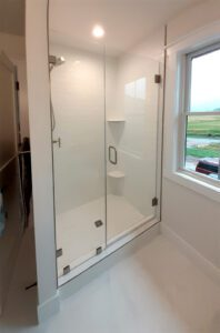 shower door with an inline panel
