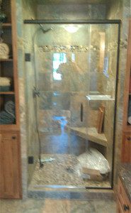 3/8 heavy glass to show off the tile. Madison area