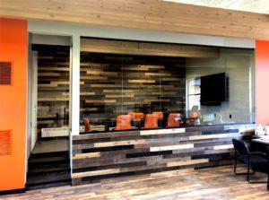 Interior glass meeting room with swing door
