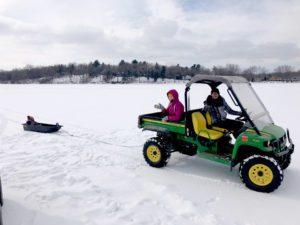 Clowning around on frozen Lake Waubesa