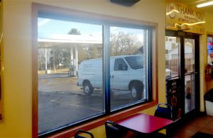 Mini mart safety windows inside looking out