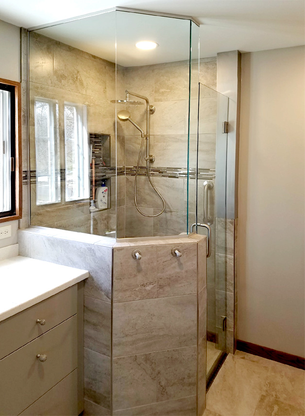 Custom fabricated neo angle shower enclosure