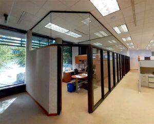 Custom office partition hush panel bronze finish
