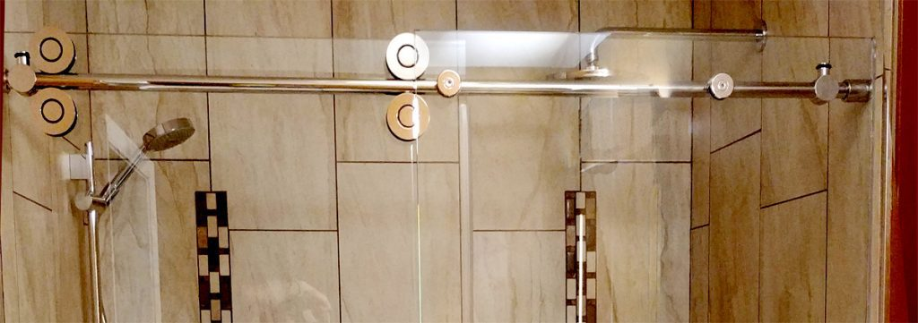 close up of pipeline sliding hardware in shower
