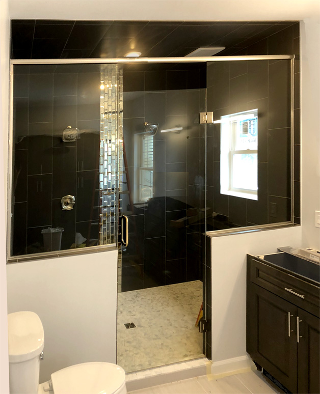 Custom height glass shower door