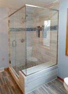shower enclosure customized around bench seat