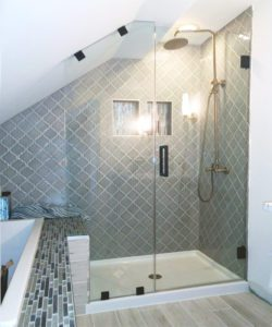 custom shower enclosure for bathroom with sloped ceiling