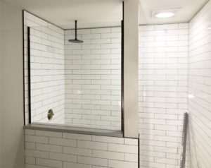 Shower glass half wall no clips - has subway tile
