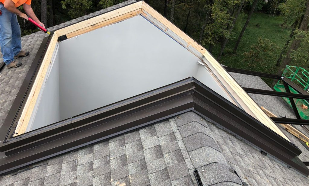 roof prepared for skylight with framing