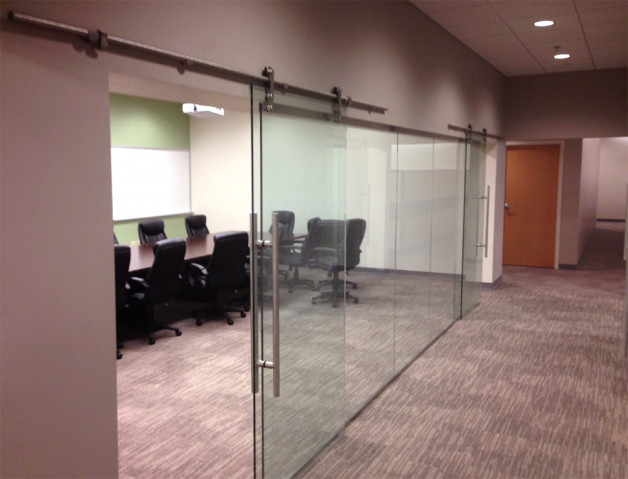 Sliding Office Doors ~ tempered glass on pipeline sliders