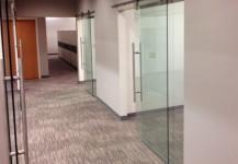 Sliding Office Doors ~ Tempered Glass on pipeline sliders