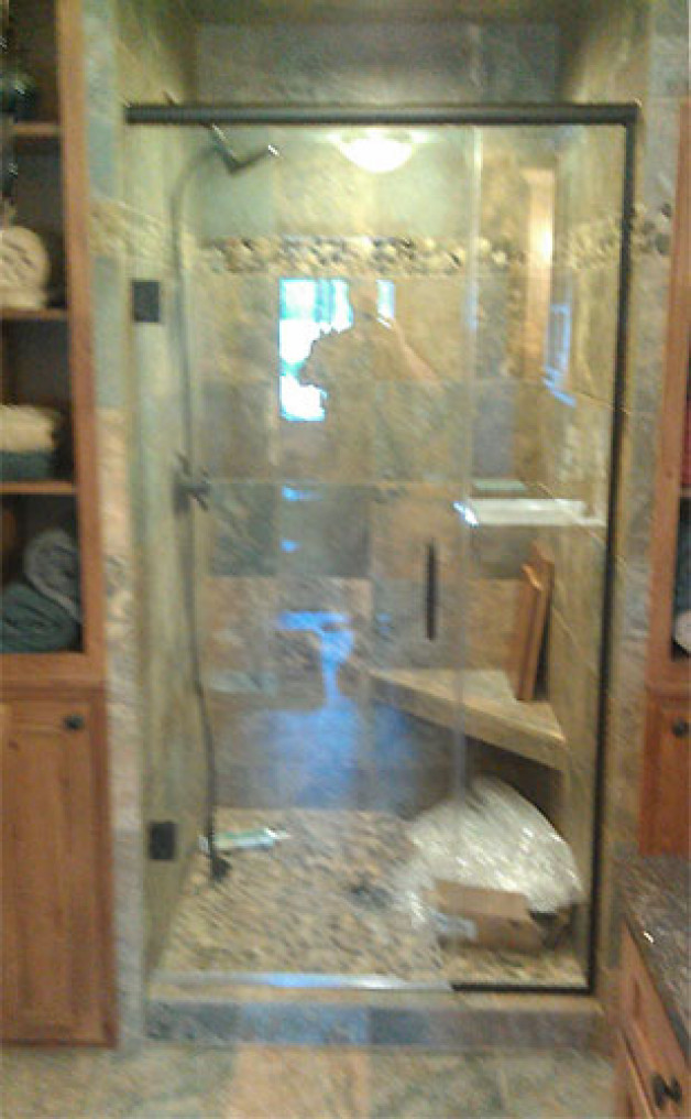 Custom heavy glass shower