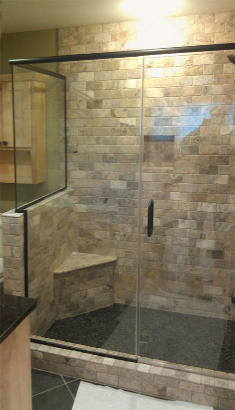 Custom return heavy glass shower