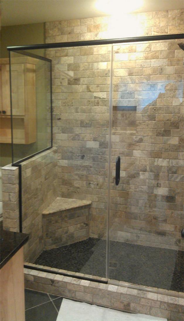 Custom return heavy glass shower