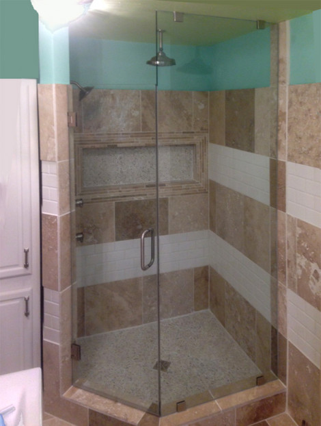 Custom angle clip system treated with ShowerGuard