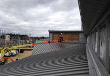 Unusual clerestory commercial building window install