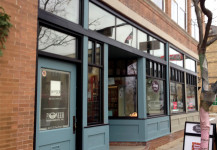 Renovated storefront, commercial glass entryway