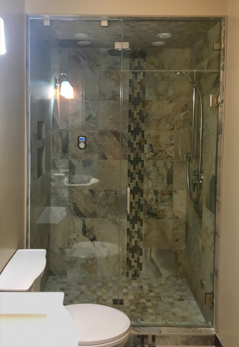 Steam shower with a teeter totter transom