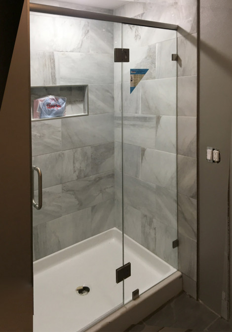 Brushed nickel custom shower with ClearShield