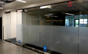 Interior folding glass wall